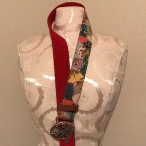 Lucky Brand Patchwork Belt - Red lined - Size 32